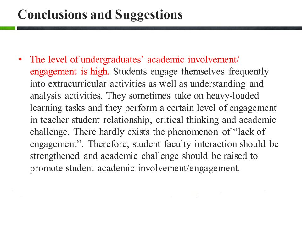 Conclusions and Suggestions The level of undergraduates' academic involvement/ engagement is high.