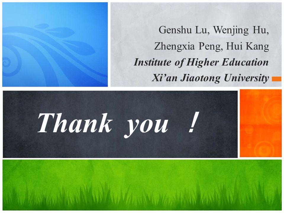 Thank you ! Genshu Lu, Wenjing Hu, Zhengxia Peng, Hui Kang Institute of Higher Education Xi'an Jiaotong University