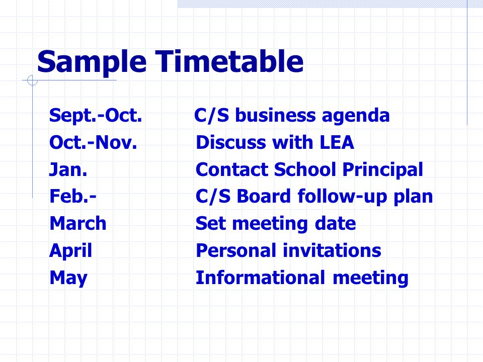 Sample Timetable Sept.-Oct. C/S business agenda Oct.-Nov.
