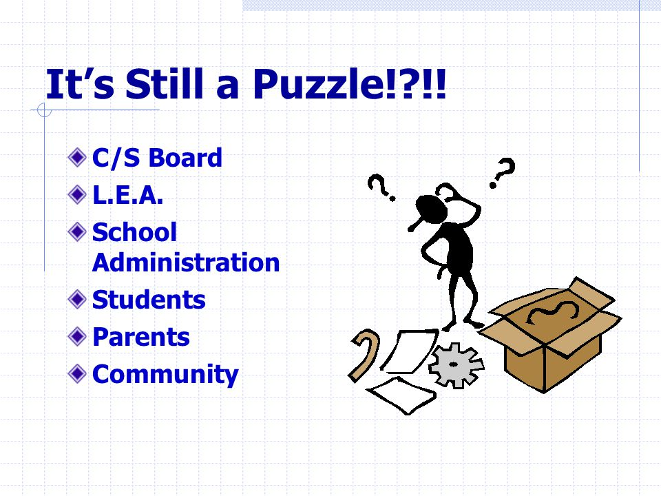 It's Still a Puzzle! !! C/S Board L.E.A. School Administration Students Parents Community