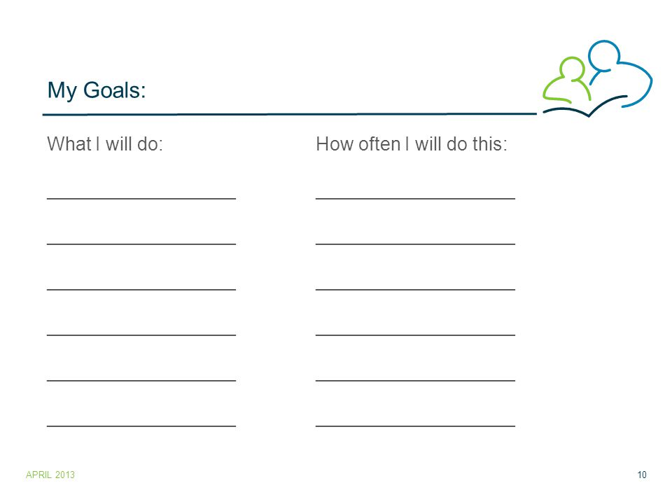My Goals: What I will do:How often I will do this: _____________________________________ APRIL 201310