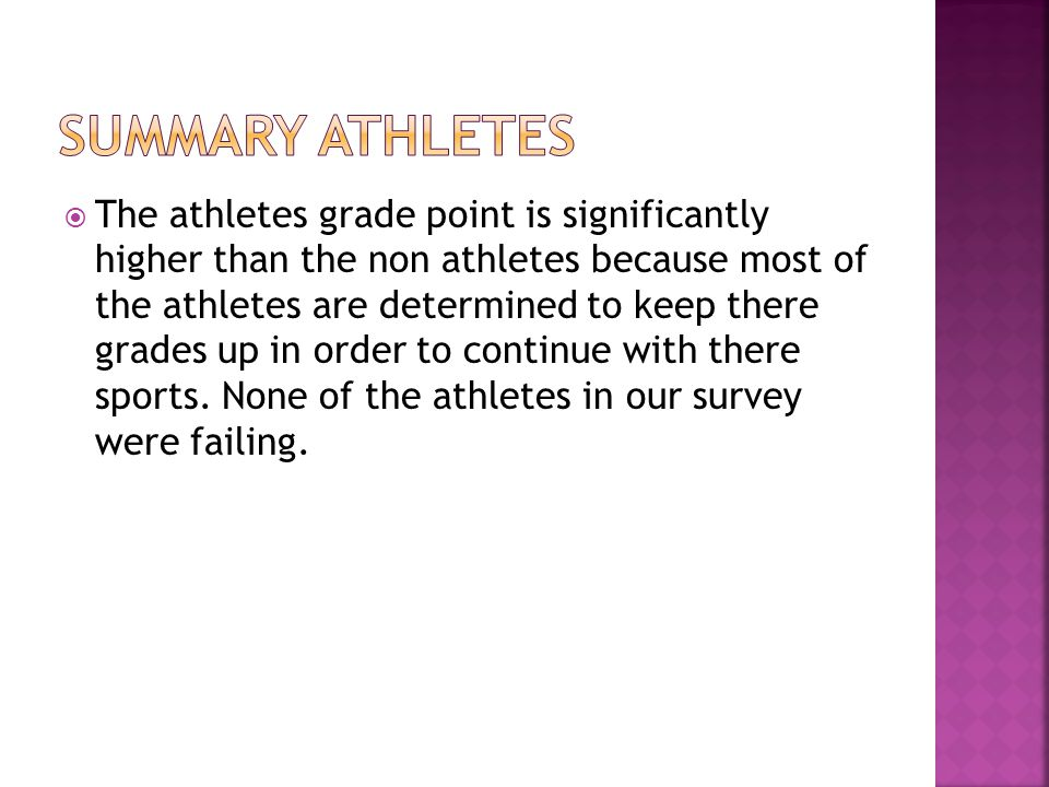  The athletes grade point is significantly higher than the non athletes because most of the athletes are determined to keep there grades up in order
