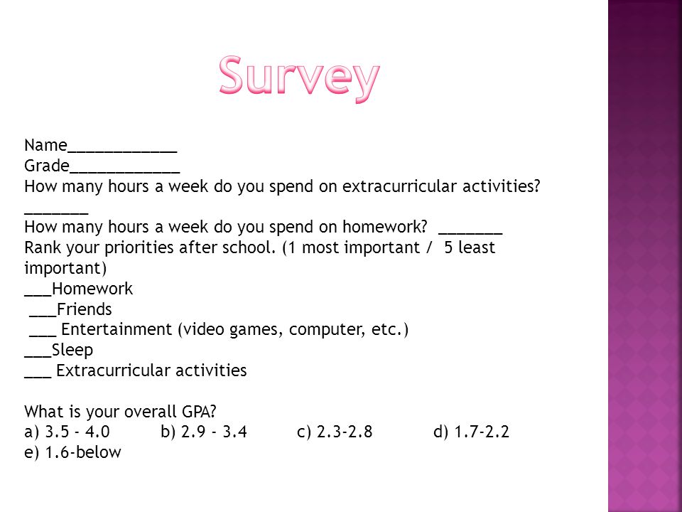 Name____________ Grade____________ How many hours a week do you spend on extracurricular activities.
