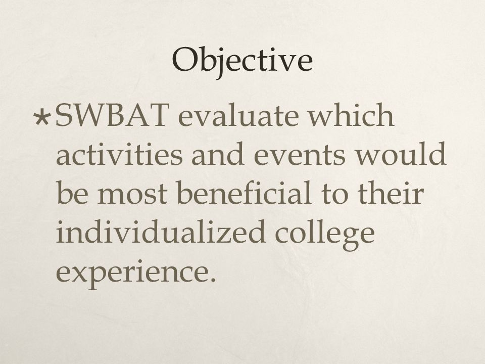 Objective  SWBAT evaluate which activities and events would be most beneficial to their individualized college experience.