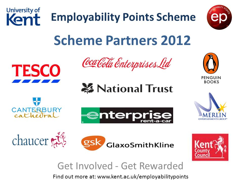 Employability Points Scheme Get Involved - Get Rewarded Find out more at: www.kent.ac.uk/employabilitypoints Scheme Partners 2012