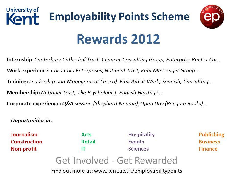 Employability Points Scheme Get Involved - Get Rewarded Find out more at: www.kent.ac.uk/employabilitypoints Rewards 2012 Internship: Canterbury Cathe