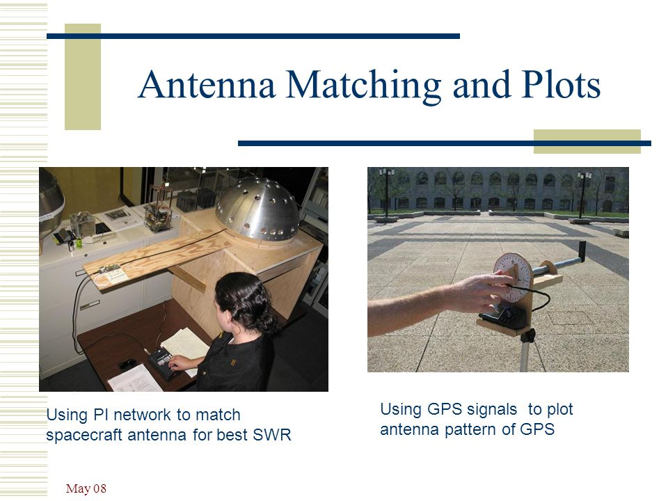 May 08 Antenna Matching and Plots Using PI network to match spacecraft antenna for best SWR Using GPS signals to plot antenna pattern of GPS