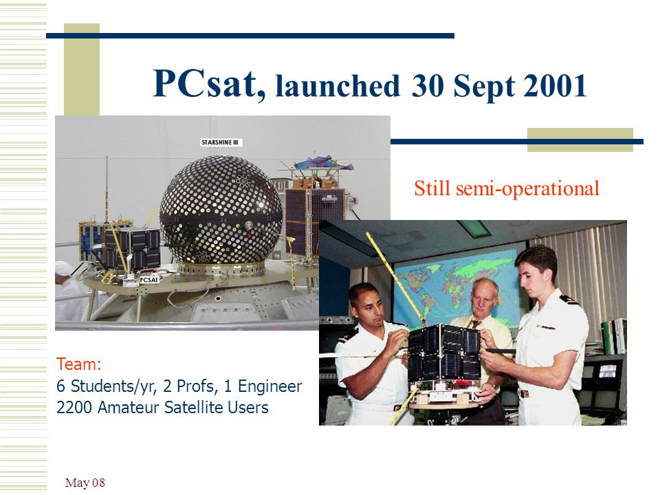 May 08 PCsat, launched 30 Sept 2001 Team: 6 Students/yr, 2 Profs, 1 Engineer 2200 Amateur Satellite Users Still semi-operational