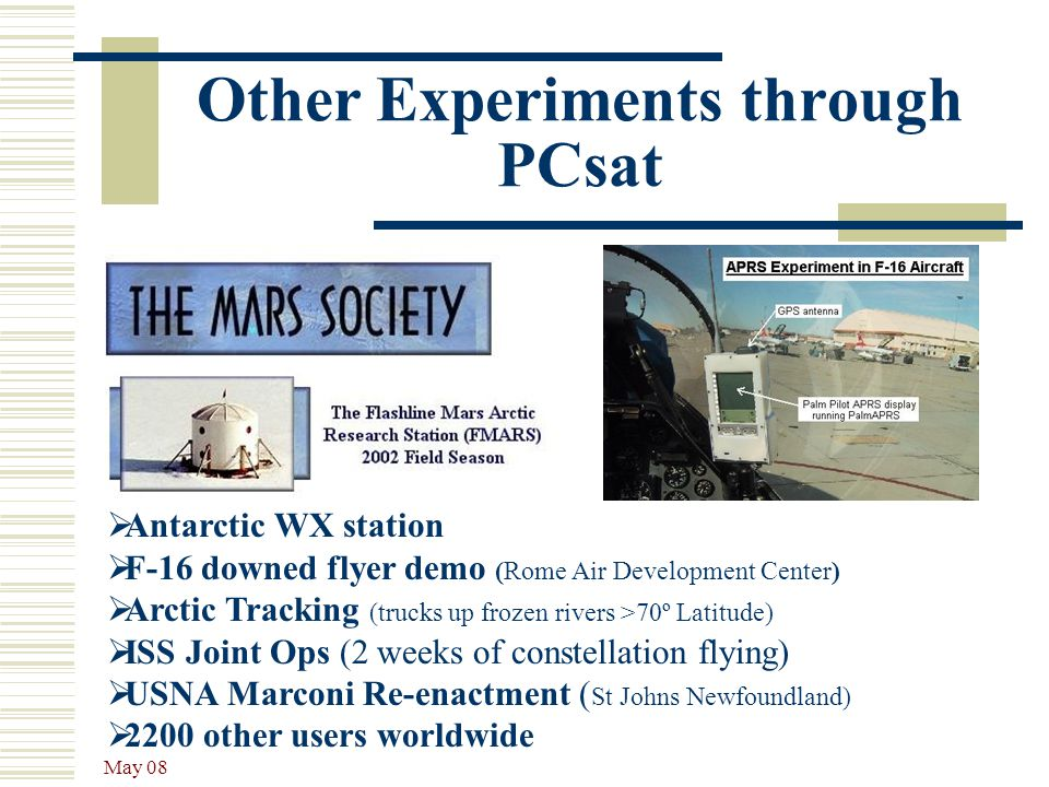 May 08 Other Experiments through PCsat  Antarctic WX station  F-16 downed flyer demo (Rome Air Development Center)  Arctic Tracking (trucks up froz