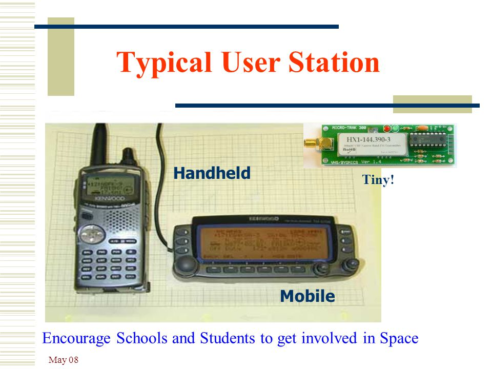 May 08 Handheld Mobile Typical User Station Encourage Schools and Students to get involved in Space Tiny!