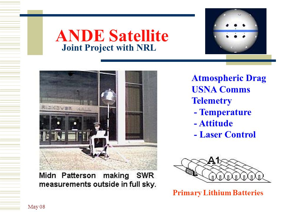 May 08 ANDE Satellite Atmospheric Drag USNA Comms Telemetry - Temperature - Attitude - Laser Control Joint Project with NRL Primary Lithium Batteries