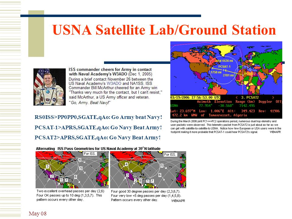 May 08 USNA Satellite Lab/Ground Station RS0ISS>PP0PP0,SGATE,qAo: Go Army beat Navy! PCSAT-1>APRS,SGATE,qAo: Go Navy Beat Army! PCSAT2>APRS,SGATE,qAo: