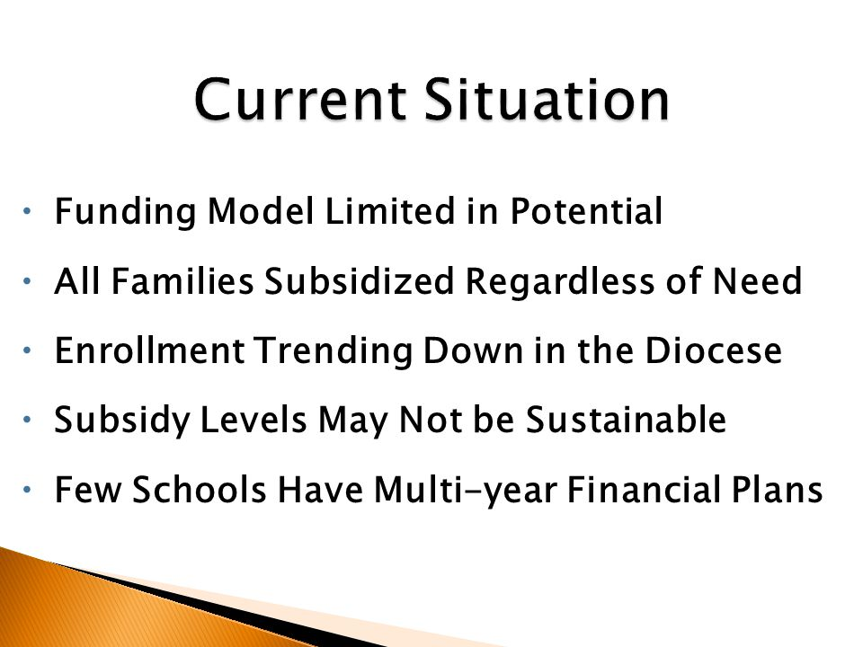  Funding Model Limited in Potential  All Families Subsidized Regardless of Need  Enrollment Trending Down in the Diocese  Subsidy Levels May Not be Sustainable  Few Schools Have Multi-year Financial Plans