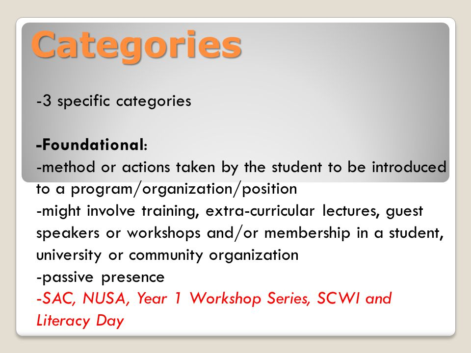 Categories -3 specific categories -Foundational: -method or actions taken by the student to be introduced to a program/organization/position -might involve training, extra-curricular lectures, guest speakers or workshops and/or membership in a student, university or community organization -passive presence -SAC, NUSA, Year 1 Workshop Series, SCWI and Literacy Day