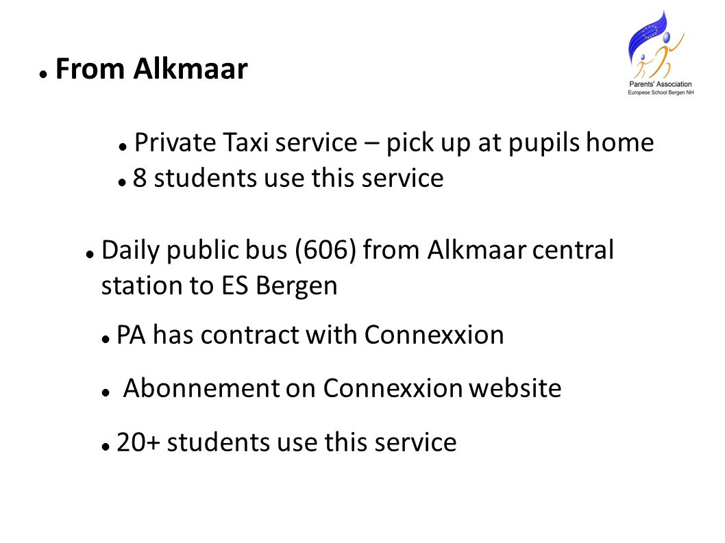 From Alkmaar Private Taxi service – pick up at pupils home 8 students use this service Daily public bus (606) from Alkmaar central station to ES Bergen PA has contract with Connexxion Abonnement on Connexxion website 20+ students use this service