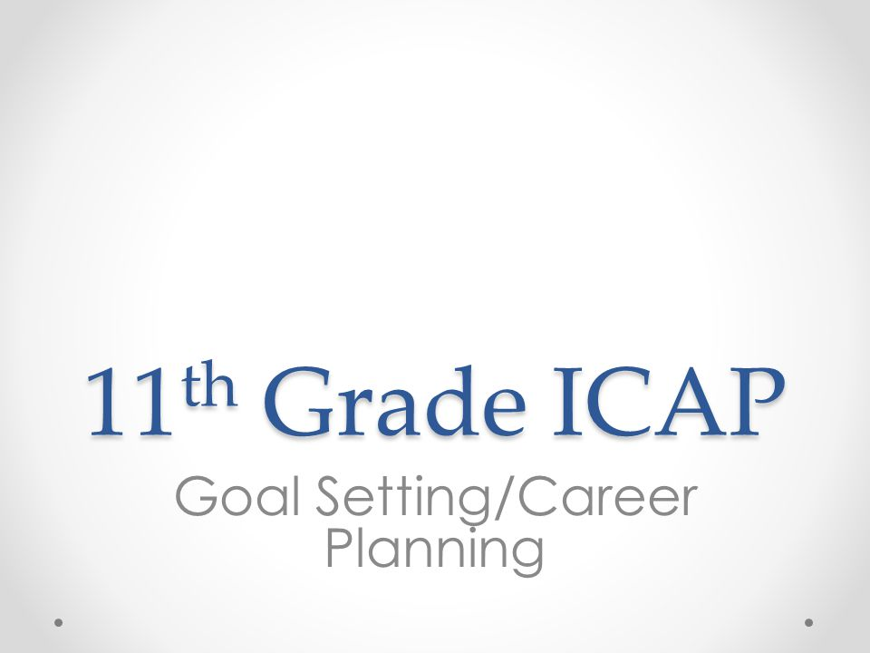 11 th Grade ICAP Goal Setting/Career Planning