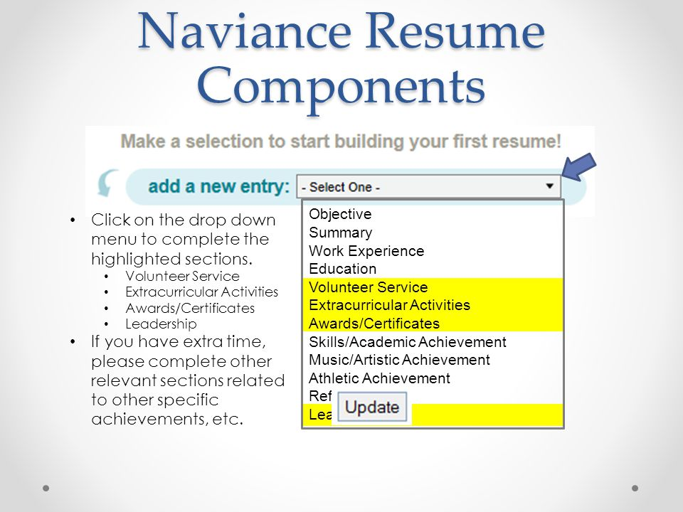 Naviance Resume Components Objective Summary Work Experience Education Volunteer Service Extracurricular Activities Awards/Certificates Skills/Academic Achievement Music/Artistic Achievement Athletic Achievement References Leadership Click on the drop down menu to complete the highlighted sections.