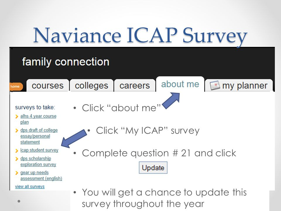 Naviance ICAP Survey Click about me Click My ICAP survey Complete question # 21 and click You will get a chance to update this survey throughout the year