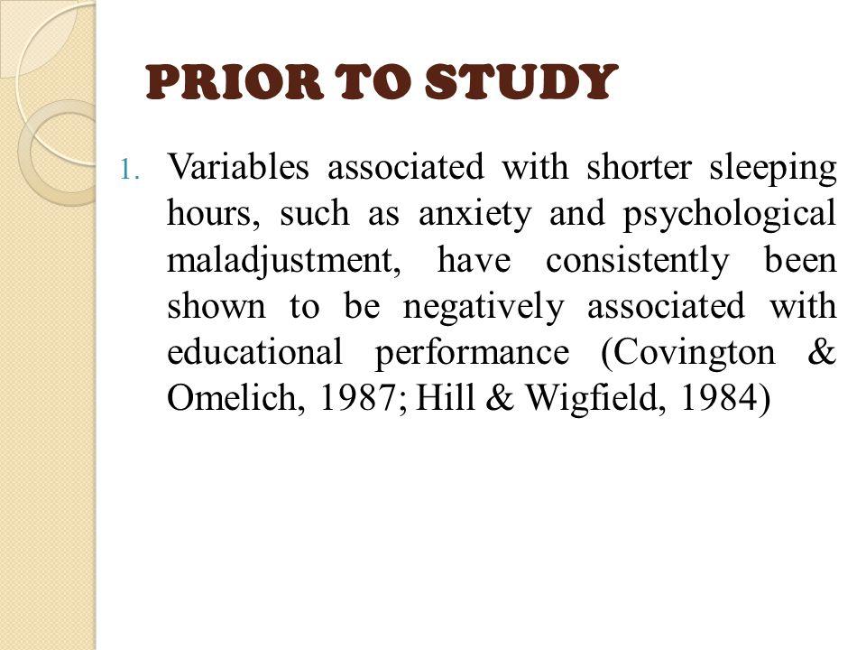 PRIOR TO STUDY 1.