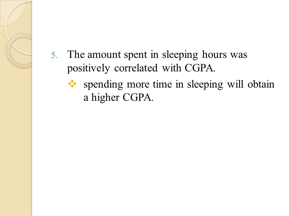 5. The amount spent in sleeping hours was positively correlated with CGPA.