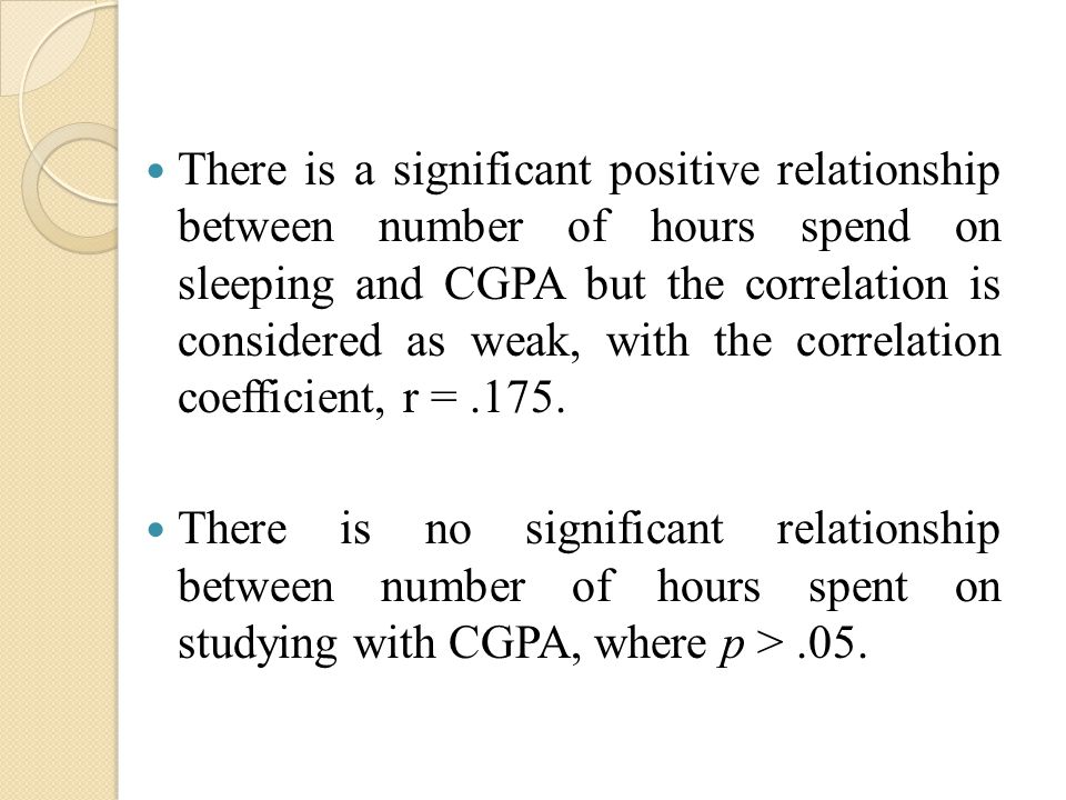 There is a significant positive relationship between number of hours spend on sleeping and CGPA but the correlation is considered as weak, with the correlation coefficient, r =.175.