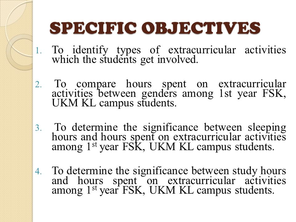 SPECIFIC OBJECTIVES 1.