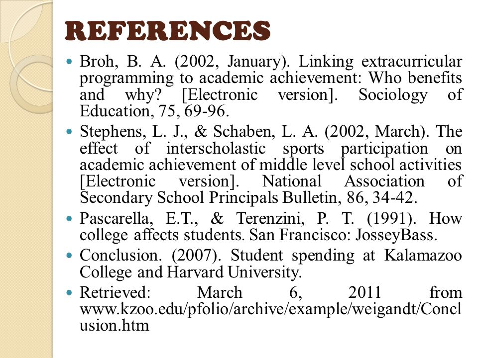 REFERENCES Broh, B. A. (2002, January).