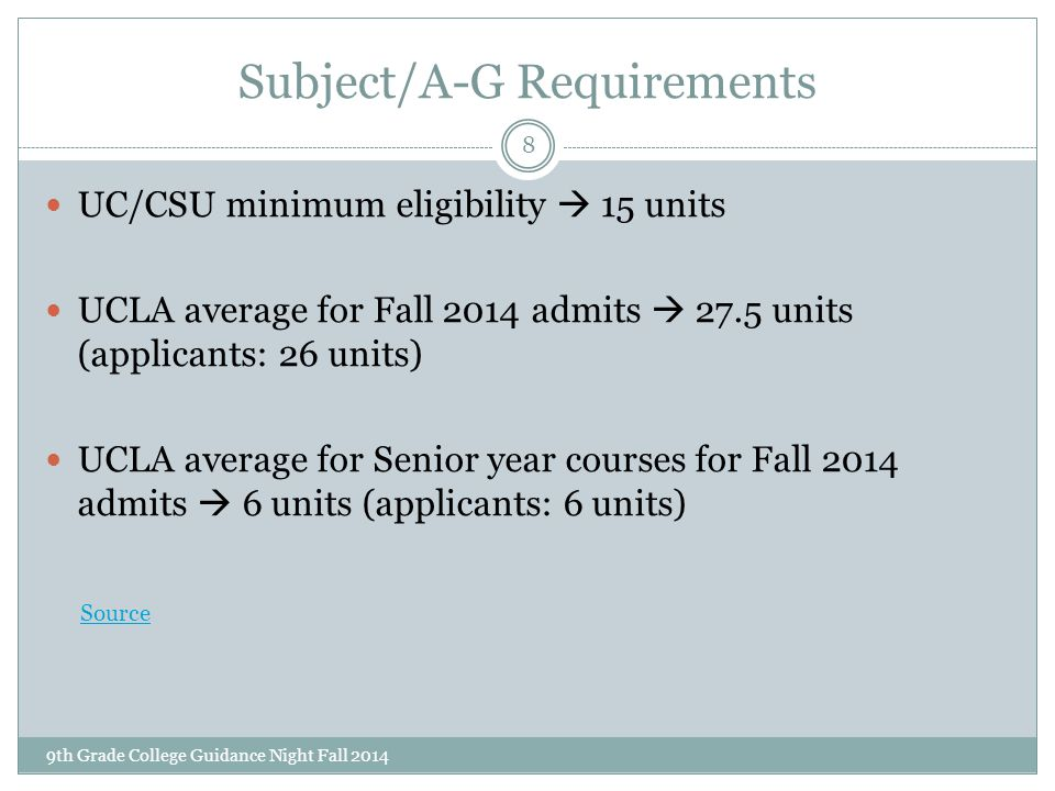Subject/A-G Requirements 9th Grade College Guidance Night Fall 2014 8 UC/CSU minimum eligibility  15 units UCLA average for Fall 2014 admits  27.5 u