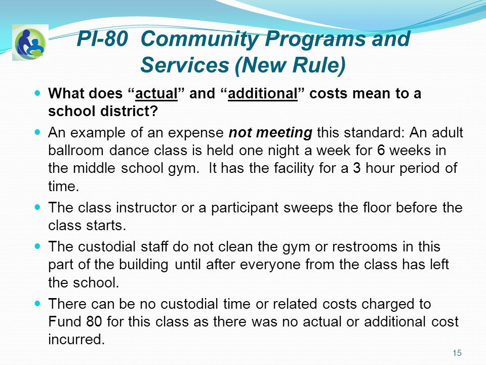 PI-80 Community Programs and Services (New Rule) What does actual and additional costs mean to a school district.