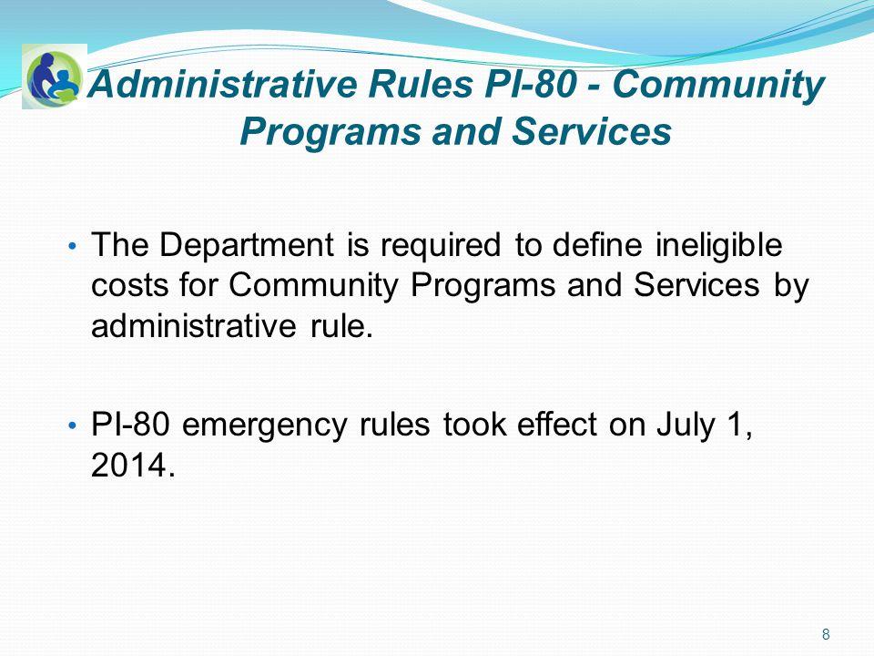 PI-80 Community Programs and Services Statutory authority: 120.13 (19) C OMMUNITY PROGRAMS AND SERVICES.
