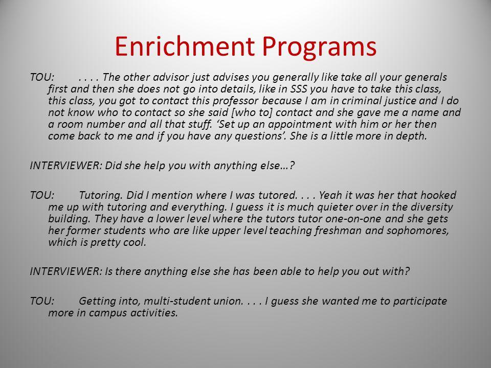 Enrichment Programs TOU:....