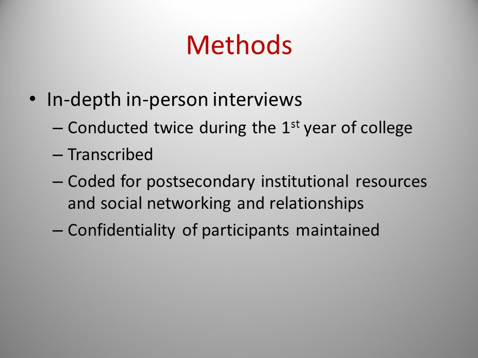 Methods In-depth in-person interviews – Conducted twice during the 1 st year of college – Transcribed – Coded for postsecondary institutional resources and social networking and relationships – Confidentiality of participants maintained