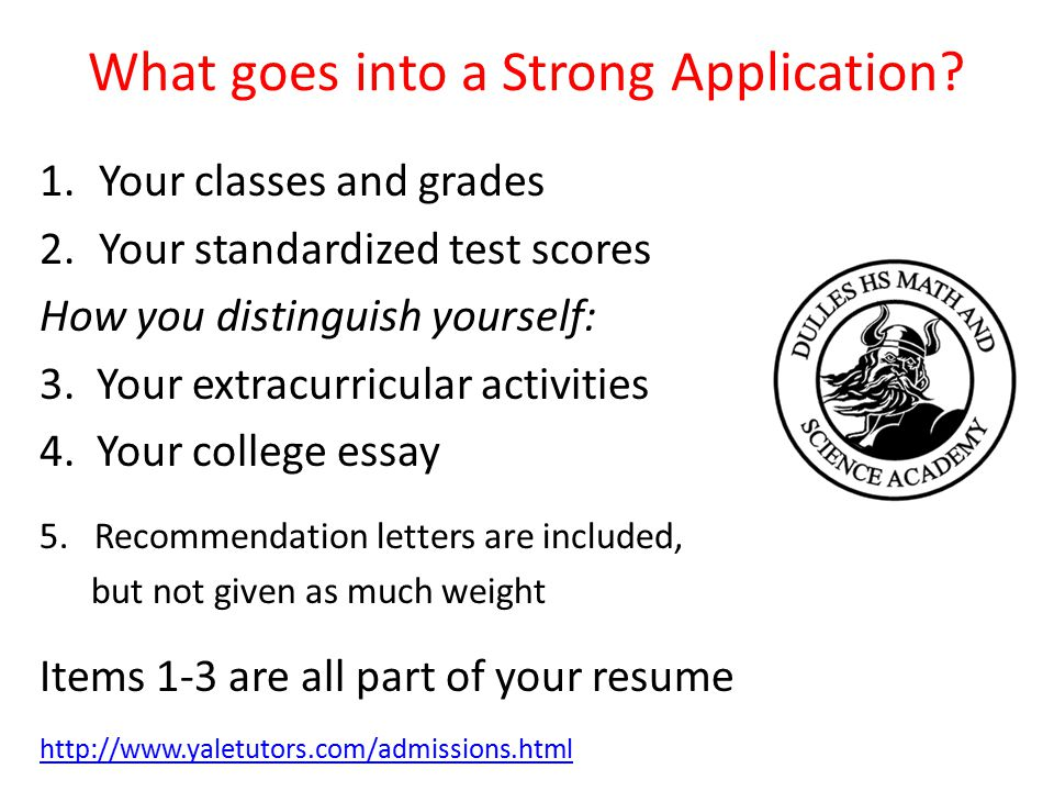 What goes into a Strong Application.