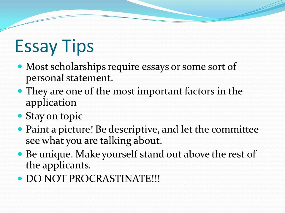 Scholarships that require personal essays