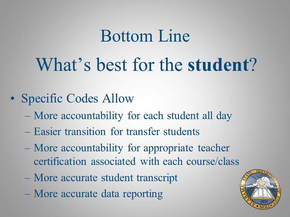 Bottom Line What's best for the student.