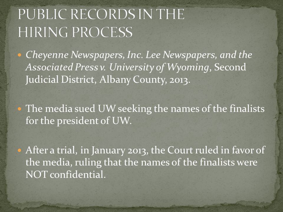 Cheyenne Newspapers, Inc. Lee Newspapers, and the Associated Press v.