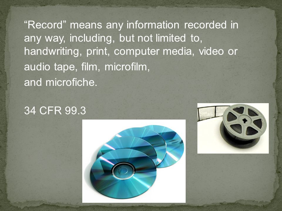 """Record"" means any information recorded in any way, including, but not limited to, handwriting, print, computer media, video or audio tape, film, micr"