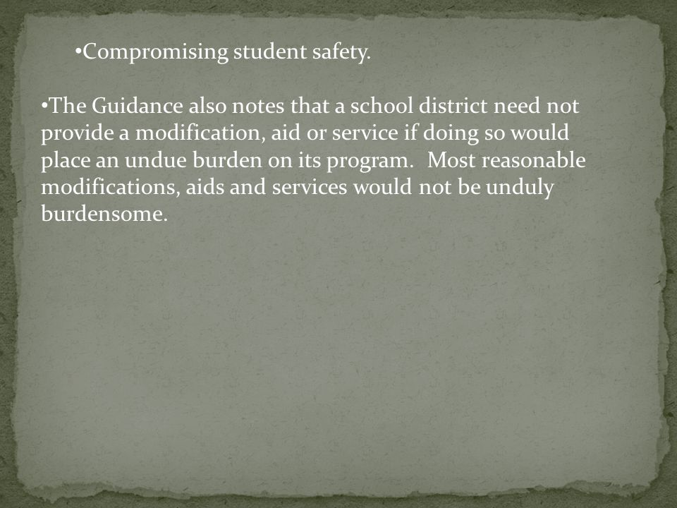 Compromising student safety.