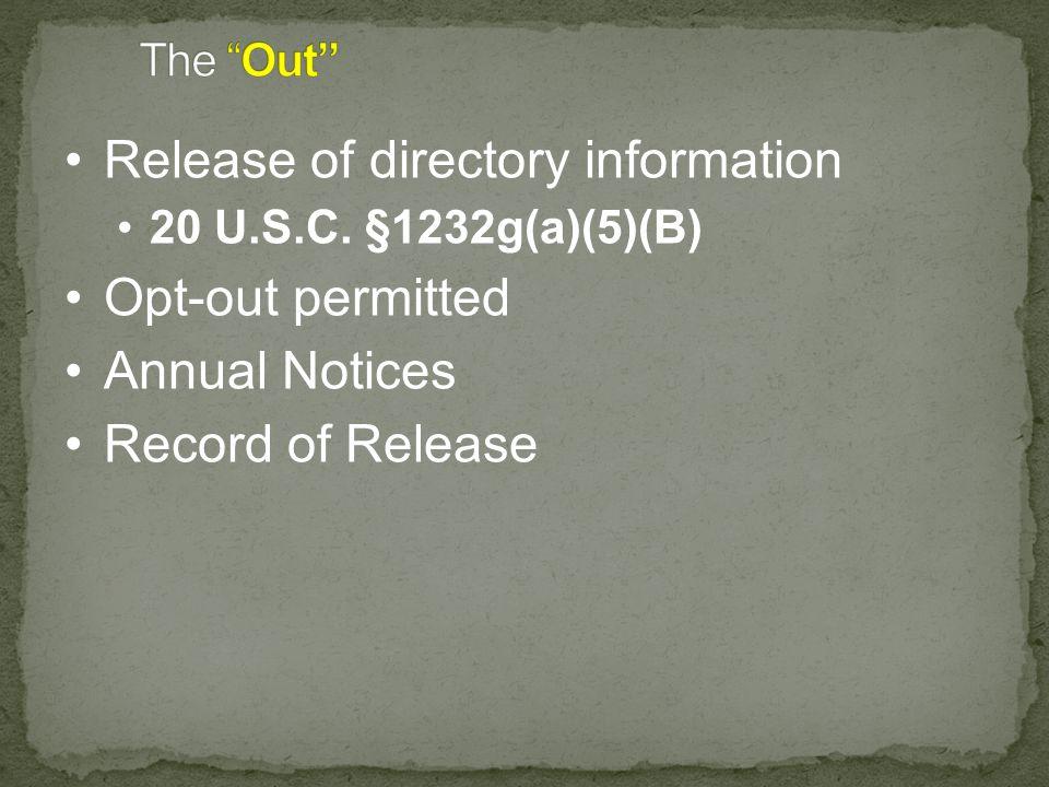 Release of directory information 20 U.S.C.