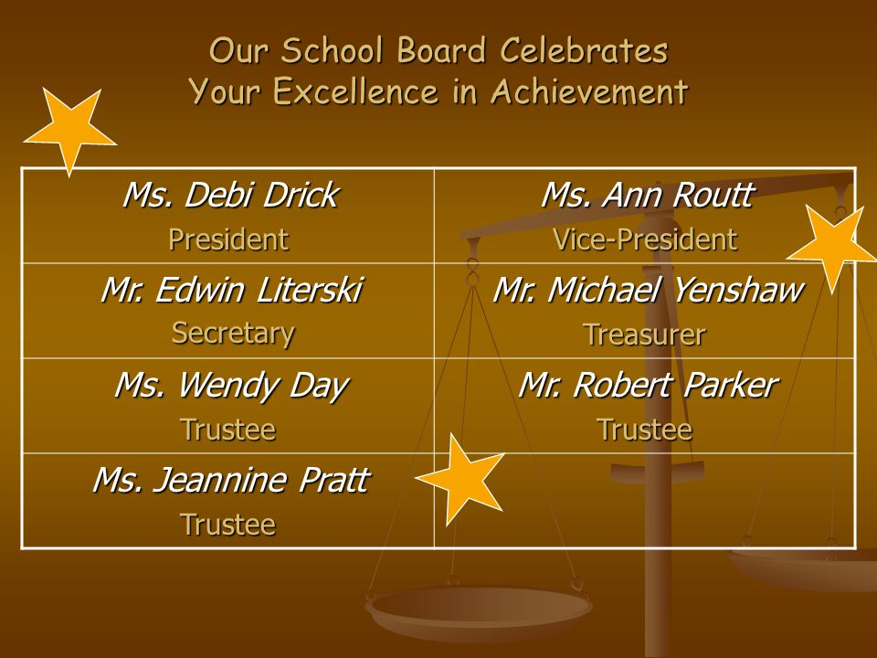 Our School Board Celebrates Your Excellence in Achievement Ms.