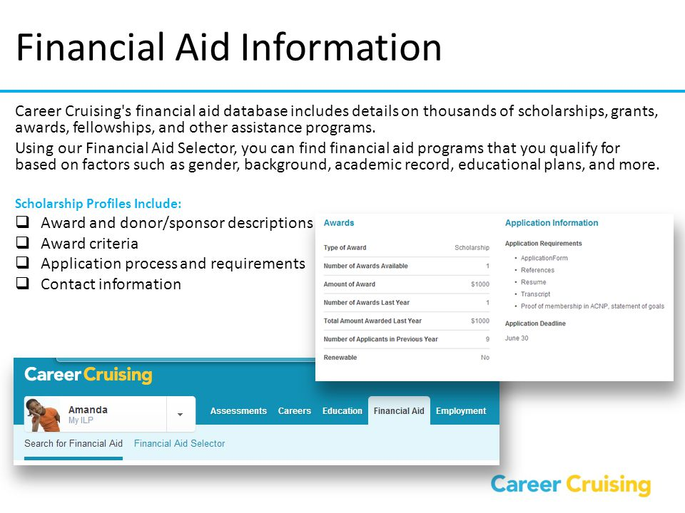 Financial Aid Information Career Cruising's financial aid database includes details on thousands of scholarships, grants, awards, fellowships, and oth