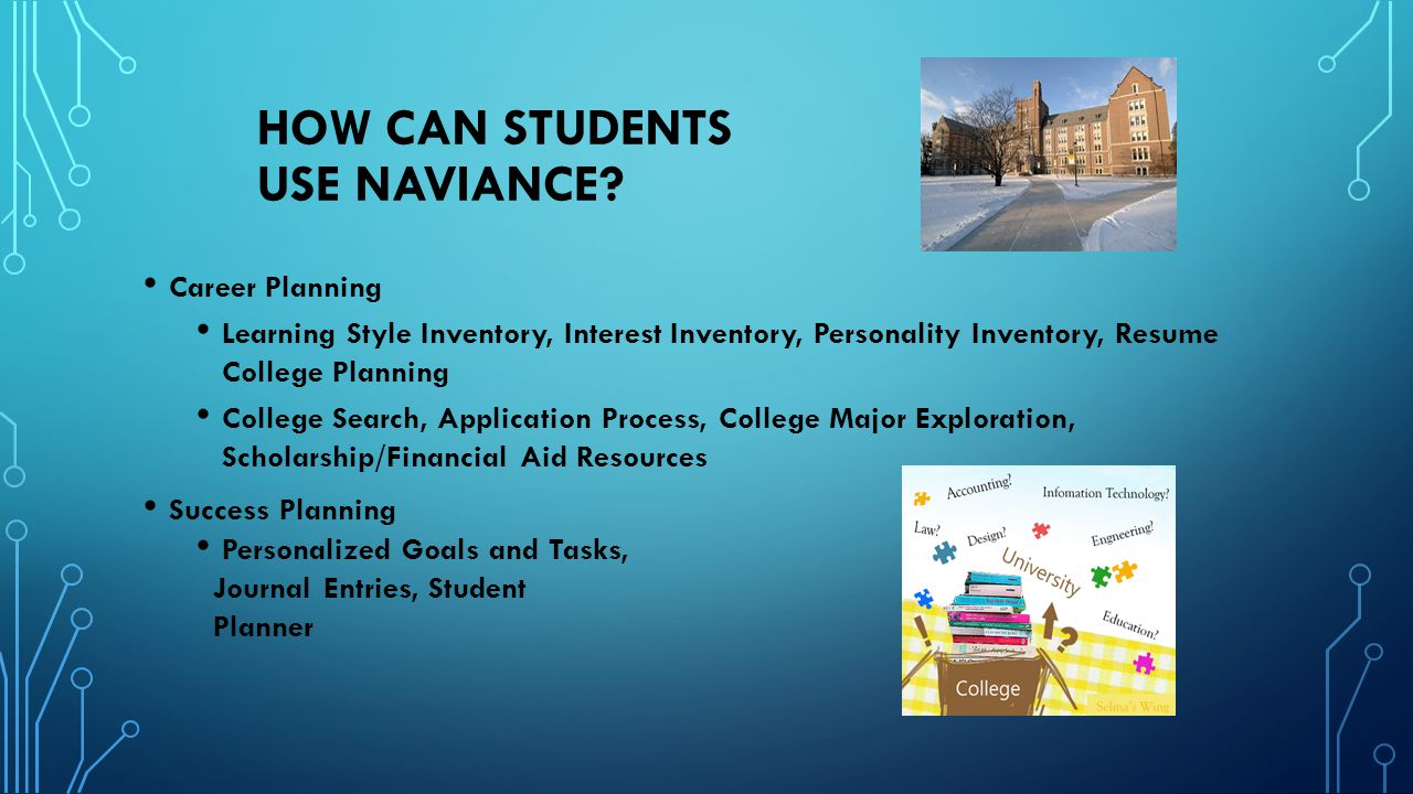 HOW CAN STUDENTS USE NAVIANCE? Career Planning Learning Style Inventory, Interest Inventory, Personality Inventory, Resume College Planning College Se
