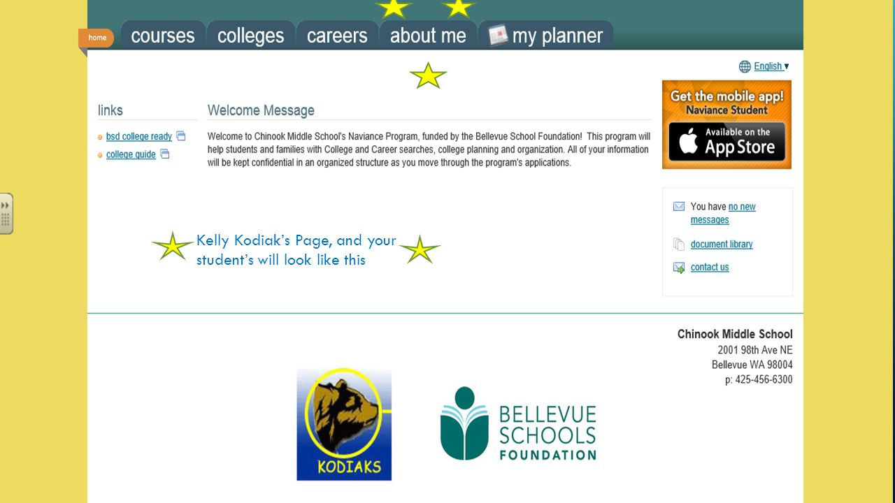 Kelly Kodiak's Page, and your student's will look like this
