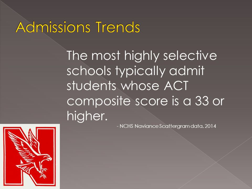 The most highly selective schools typically admit students whose ACT composite score is a 33 or higher.