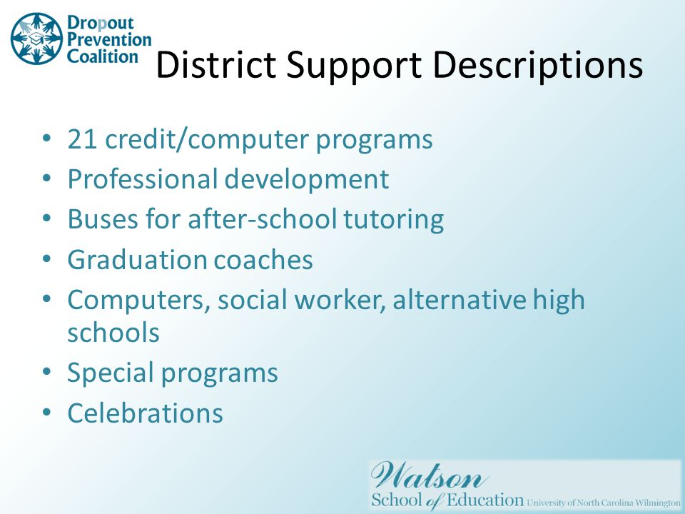 District Support Descriptions 21 credit/computer programs Professional development Buses for after-school tutoring Graduation coaches Computers, social worker, alternative high schools Special programs Celebrations