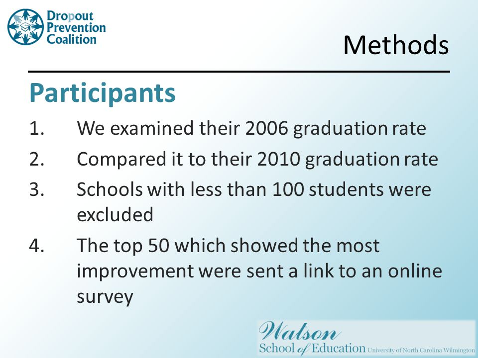 Methods Participants 1.We examined their 2006 graduation rate 2.Compared it to their 2010 graduation rate 3.Schools with less than 100 students were excluded 4.The top 50 which showed the most improvement were sent a link to an online survey