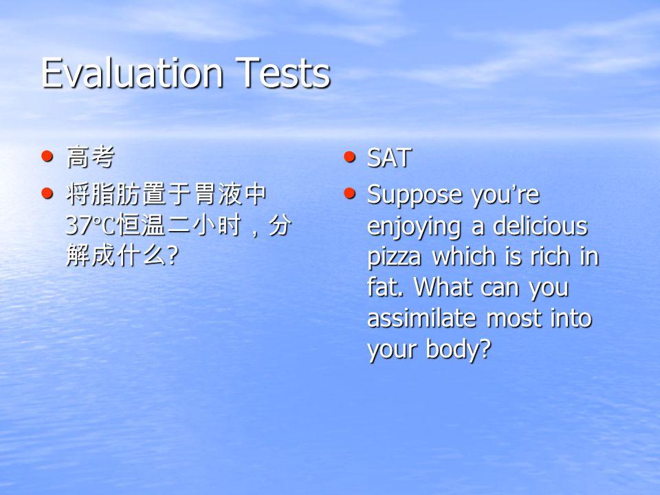 Evaluation Tests 高考 高考 将脂肪置于胃液中 37 ℃恒温二小时,分 解成什么 .