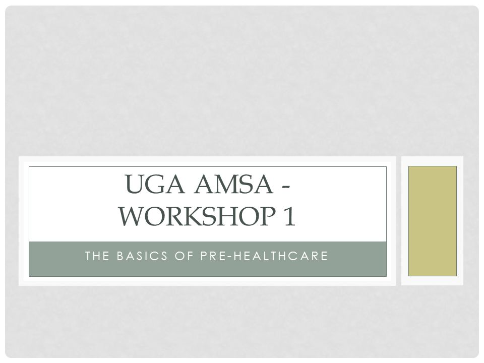 THE BASICS OF PRE-HEALTHCARE UGA AMSA - WORKSHOP 1
