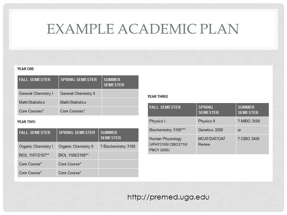 EXAMPLE ACADEMIC PLAN http://premed.uga.edu