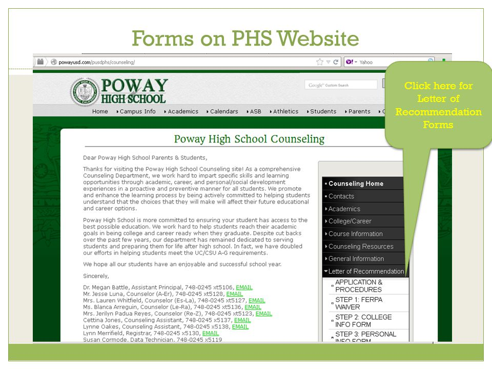 Forms on PHS Website Click here for Letter of Recommendation Forms